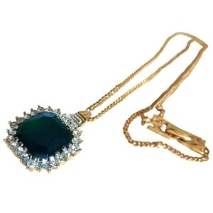 VTG 80s Nina Ricci Emerald Glass Necklace